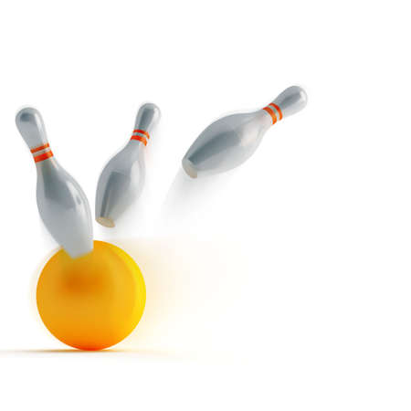 leisure games: pins and ball for play in bowling on a white background