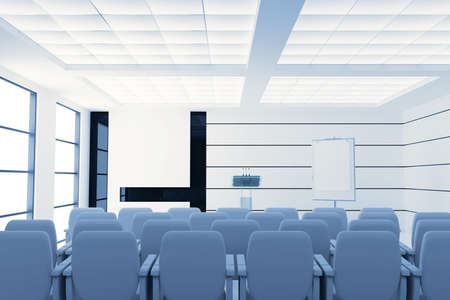 empty modern conference room with microphones and visual board and chairs photo