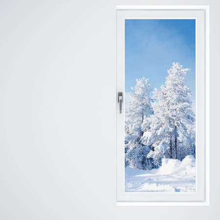 light wall, window and beautiful winter landscape photo