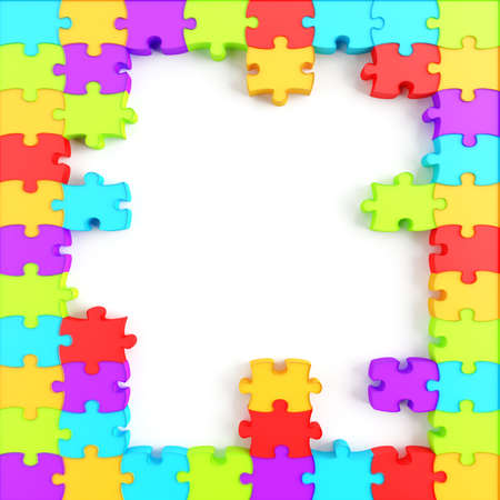 Parts of a puzzle with funny colors on a white background Stock Photo - 8137705