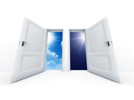 opened: White opened doors with day and night observe in outdoor Stock Photo
