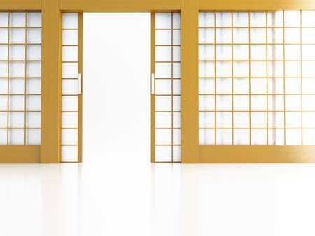 rutsche: Offenen T�r im japanischen Stil auf wei�em Hintergrund