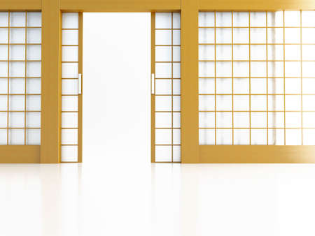 glass door: Open door in Japanese style on a white background
