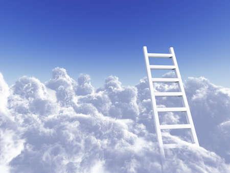 ontbering: witte trap stijgen in wolken op een blauwe achtergrond hemel