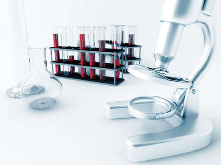 laboratory glass: Microscope and glass test tubes in laboratory