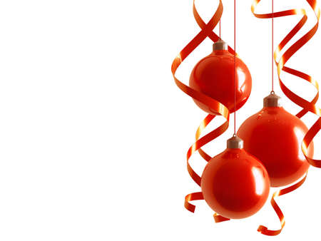 red christmas balls in an environment of ribbons on a white background Stock Photo - 8237769