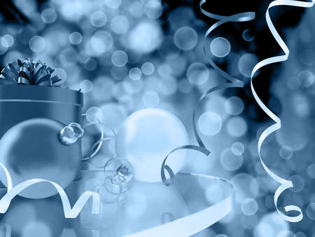 modern christmas baubles: blue toned beautiful scene of christmas with gifts and baubles