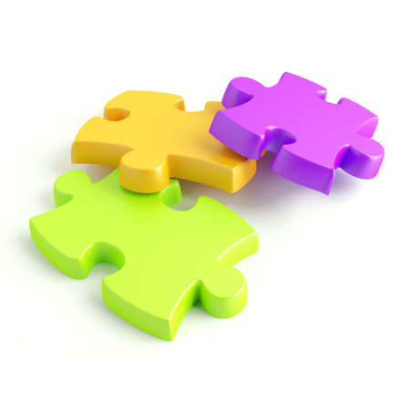 Parts of a puzzle with funny colors on a white background Stock Photo - 8237772