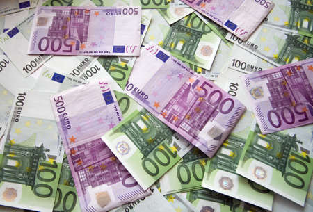 chaotically: background from chaotically lyings euro banknotes Stock Photo