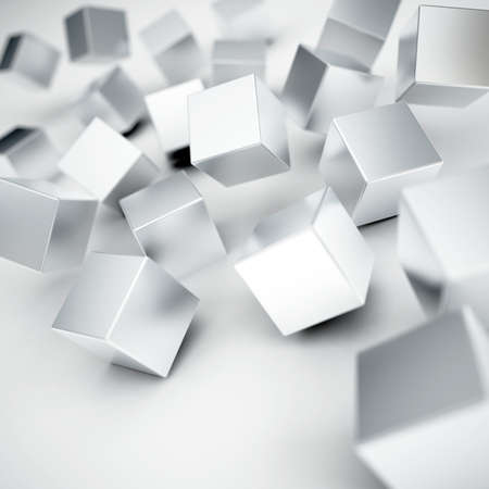 Falling and hitting gray metallic cubes on a white background Stock Photo