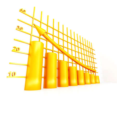 financials: yellow columns of diagram with arrow rising upwards Stock Photo