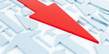 Red arrow of a direction it is opposite light blue arrows Stock Photo - 8456135