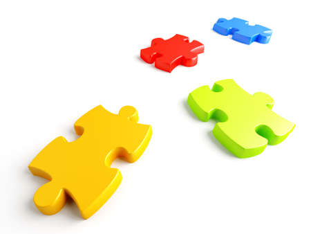 Parts of a puzzle with funny colors on a white background Stock Photo - 8610325