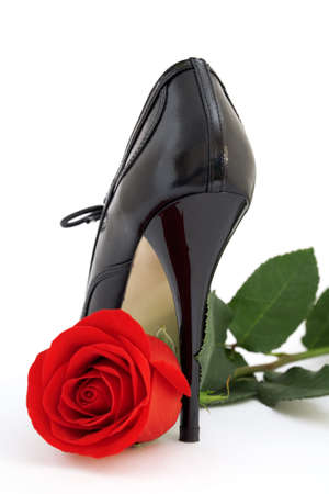 Red rose and a black shoe on a white background photo