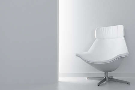 white luxury armchair in empty light room photo