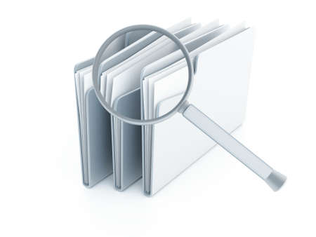 finding: blue folders with papers under magnifier on a white background Stock Photo