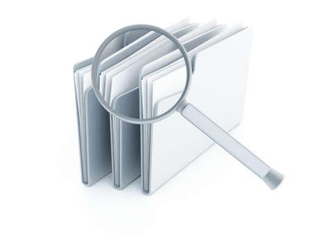 documentos: carpetas azules con documentos bajo la lupa sobre un fondo blanco