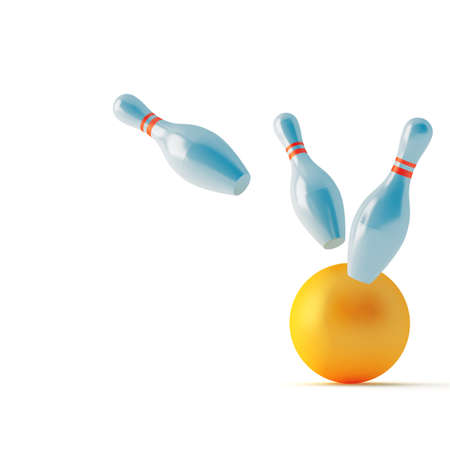 strike: pins and ball for play in bowling on a white background
