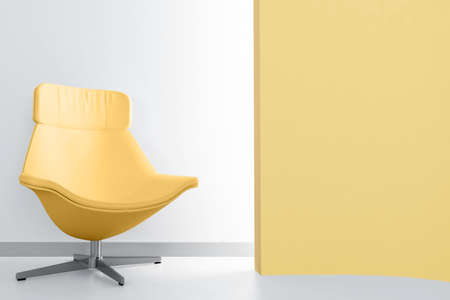 yellow luxury armchair in empty light room