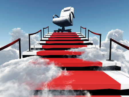 adversity: upwards stairs and modern armchair in the end of a way in environment of clouds and sky