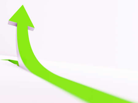 going green: green pointer going up on a white background Stock Photo