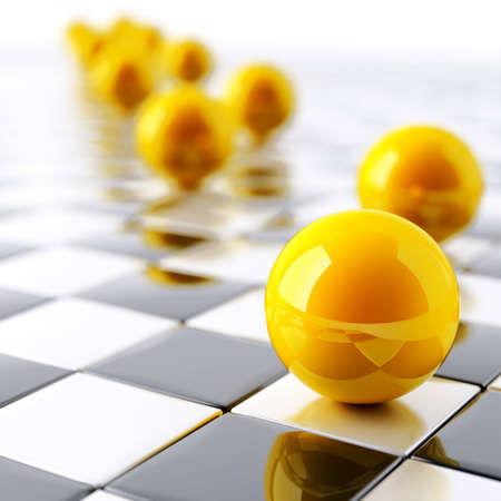 abstract bright yellow balls on checkered white black background Stock Photo - 9174499