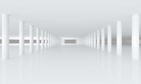 vanishing: white row of columns vanishing in the distance