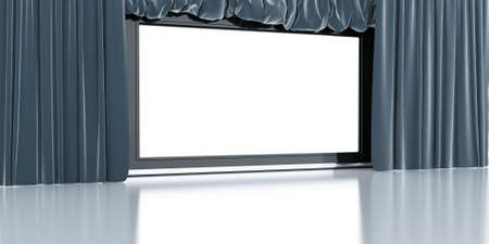 empty white modern screen with blue curtains around photo