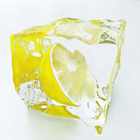 ice blocks: green lemon in the piece of transparent ice on a light background