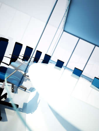 board room: Empty meeting room with rounded table and light from windows