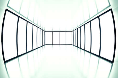 visualize: fish eye view on modern empty room with light from windows Stock Photo