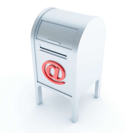 Metal mail box with e-mail symbol on a white background photo
