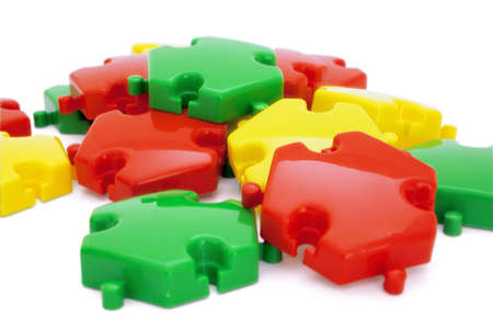 Parts of a puzzle with funny colors on a white background Stock Photo - 9284111