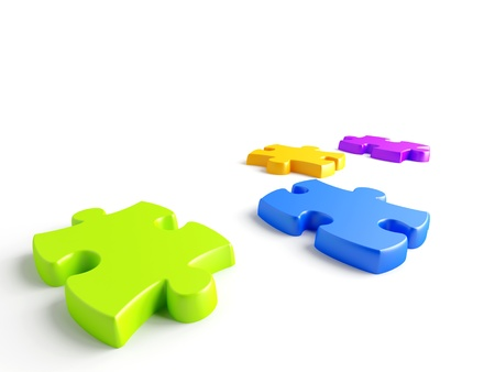 Parts of a puzzle with funny colors on a white background Stock Photo - 9329845