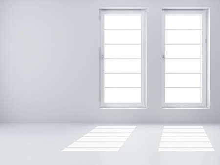 big window: Twee witte windows en licht van hen in een lege ruimte
