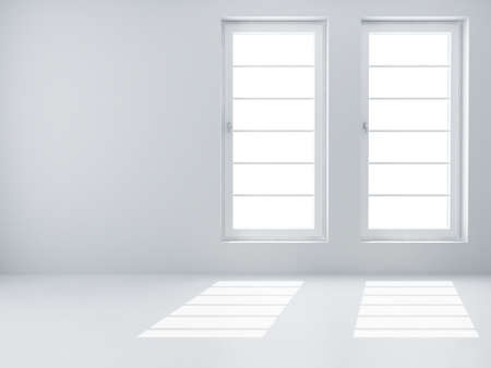Two white windows and light from them in an empty room photo