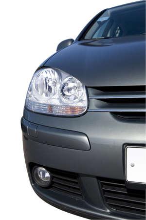 large headlight of modern grey metallic car photo