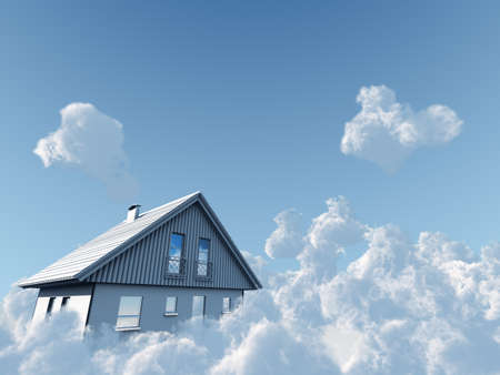 day dream: rural house flyuing on clouds on blue sky background