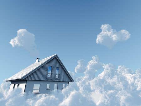 droomhuis: Vakantiehuis flyuing op wolken op blauwe hemelachtergrond Stockfoto