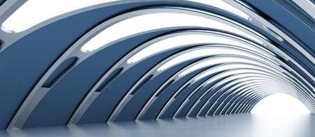 futuristico: Giro del corridoio splenduto con la luce, rendendo la strada da percorrere Archivio Fotografico