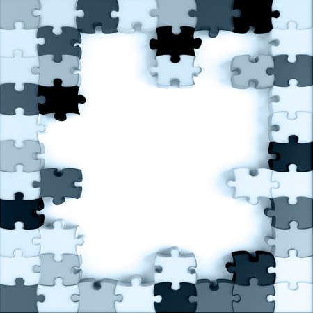 blue toned parts of a puzzle on a white background Stock Photo - 9630577