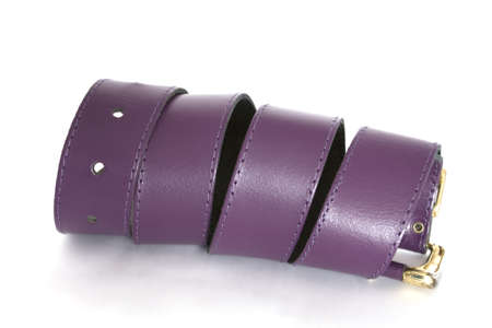 waistband: twisted violet leather belt on a white background