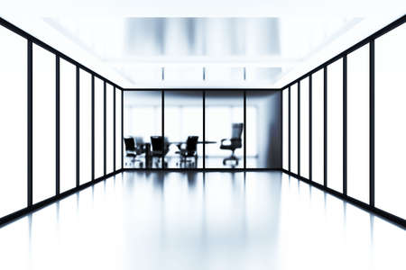glass partition: Empty meeting room behind a glass partition in modern cubicle