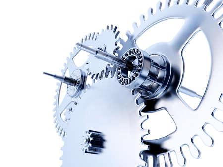 siderurgia: azules vinculados engranajes de metales sobre un fondo blanco