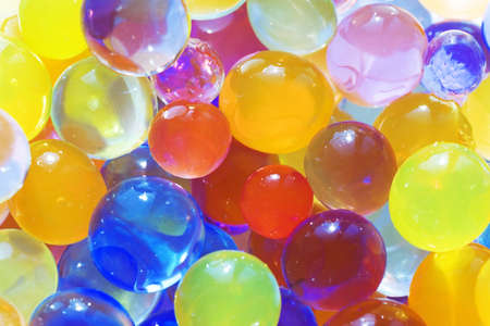 small group: Many multi-colored balls as a cheerful background