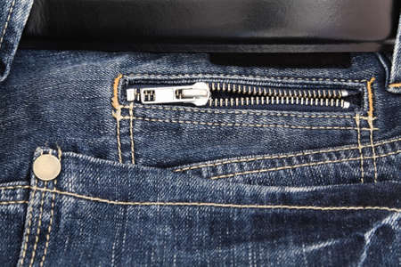 jeans pocket with zipper and black leather belt Stock Photo - 10293130
