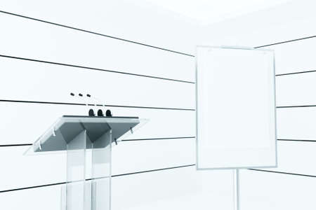 tidings: Microphones on a podium in modern light meeting room of modern office