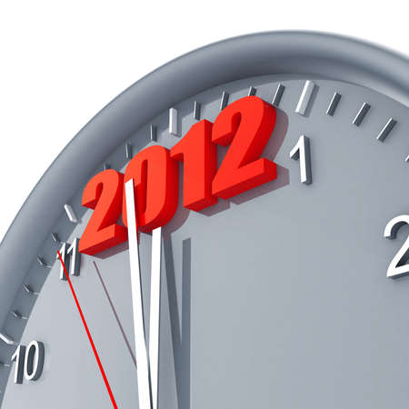 Round clock with arrows and red number 2012  in the top part Stock Photo - 10411607