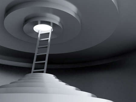 overcome a challenge: Ladders upwards to light in a dark rounded room