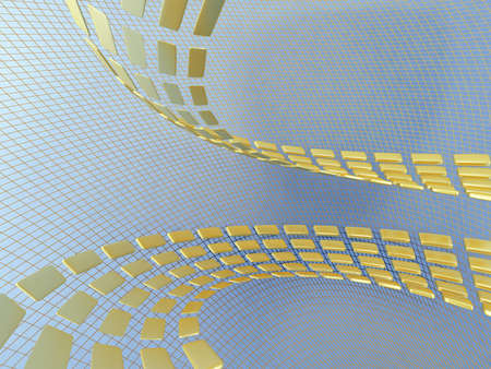 reiteration: yellow abstract cubes on the blue netted background